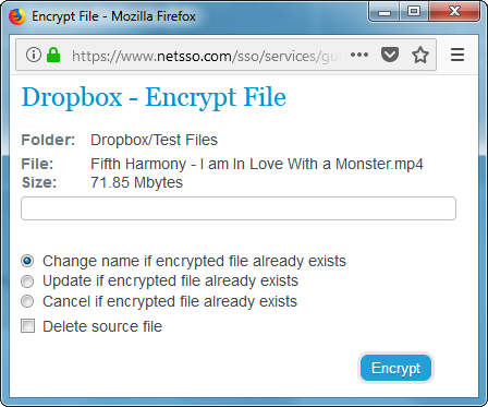 Netsso User Manual - Encrypting a File in your Online Storage