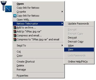 Telecryptor Context Menu